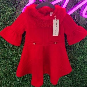 Janie and Jack red fur collar baby dress